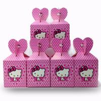 birthday kids supplies 2018 - 6pcs set Hello Kitty Party Supplies Paper Candy Box Cartoon Kids Birthday Baby Shower Decoration Party Supplies Kids Girl Pink