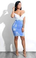 falda hasta la rodilla de cintura alta al por mayor-Falda Sexy Mujeres Denim 2018 Casual Jeans de cintura alta Faldas Hasta la rodilla Mujeres delgadas Midi Lápiz Falda Jupe En Jean 1800711
