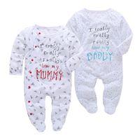 baba bayan elbiselerini seviyorum toptan satış-2018 Bahar Yenidoğan Bebek Kız erkek Giysileri Set Bebek Uzun kollu bebek tulum babaya aşk Mumya Tulum Bebek giyim