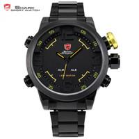 ingrosso sveglia digitale gialla-Luxury SHARK Sport Watch Display a LED in acciaio inossidabile nero giallo Data Day Alarm Quartz Tag Uomo Orologio digitale / SH107