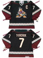 Custom 1998 Phoenix Coyotes KEITH TKACHUK Hockey Jerseys Home Black Vintage  CCM 7 KEITH TKACHUK Stitched Jerseys C Patch 24c5d7e34