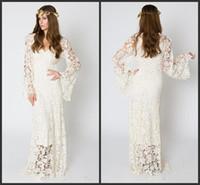 vestido hippie marfil al por mayor-El más nuevo vestido de boda bohemio inspirado en la vendimia BELL SLEEVE LACE Crochet Ivory o vestido de novia hippie blanco Boho Vestido de encaje bordado maxi