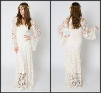 elfenbein hippie kleid großhandel-Neueste Vintage-inspirierte böhmische Brautkleid BELL SLEEVE LACE häkeln Elfenbein oder White Hippie Brautkleid Boho Maxi Spitzenkleid bestickt