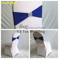 Wholesale Diamond Buckle Chair Sashes - Hot Sale Lycra Chair Band \ Spandex Chair Sash Bow With Net Diamond Buckle For Chair Cover
