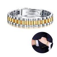 pulseira hematita magnética venda por atacado-Relógio-Estilo Hematita Preta Terapia Magnética Pulseira para Mulheres Dos Homens de Aço Inoxidável Casais Jóias
