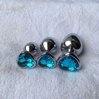 Wholesale jeweled anal jewelry for sale - Group buy 3 Heart Shaped Stainless Steel Crystal Jewelry Anal Plug Beads Metal Jeweled Butt Plug Anal Sex Toys For Couple Y18110106