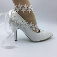 ingrosso scarpe da sposa in avorio-Imit Silk Scarpe da sposa Satin Avorio sposa matrimonio Abiti da punta Abiti da sposa in pizzo diamante matrimonio BRIDAL HEEL scarpe New EU35-42 Aa2
