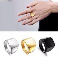 Wholesale great big - New Fashion Square Big Width Signet Rings Fashion man Finger Silver Men Ring Titanium Steel Jewelry