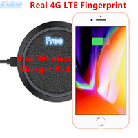 Wholesale Czech Christmas - 2018 Christmas Gift Unlocked Goophone i8 Plus Free Wireless charging Real 4GLTE Fingerprint Quad Core 1920*1080 Mobile Phone Glass Back