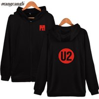 Wholesale Newest Style Mens Hoodies - Newest U2 2017 Autumn Youth Style Zipper Hoodies Men   Women Hot Sale Harajuku U2 Pink Men Hoodies Sweatshirts Mens Plus Size