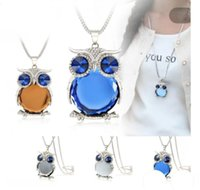 Wholesale owl metals - 9 colors new owl necklace crystal pendant necklace classic animal long necklace jewelry for women gift free shipping