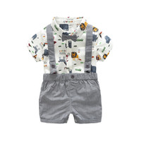Wholesale baby clothes for boys for sale - Baby kids clothing romper sets summer short sleeve turn down collar romper sets two piece clothing sets for boy