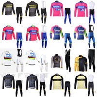Wholesale lampre team clothes online - LAMPRE LIVESTRONG team cycling jersey D gel pad long Sleeves bib pants sets pro cycling clothing bicycle Maillot Suit E1419