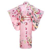 eski ipek kimono toptan satış-Pembe Japon Kadın Moda Gelenek Yukata Obi Ile İpek Rayon Kimono Çiçek Vintage Cosplay Kostüm Akşam Elbise Bir boyut