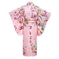 vestidos de seda japoneses al por mayor-Pink Japanese Women Fashion Tradition Kimono de seda Yukata Rayon con Obi Flower Vintage Cosplay vestido de noche un tamaño