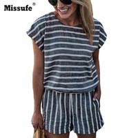 c22983e35fcb Missufe Short Sleeve Fashion Casual Stripe Women Playsuit Sexy Backless Bodysuits  Rompers 2018 Female Summer Jumpsuit