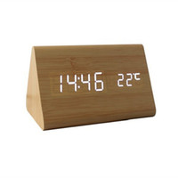 Wholesale digital electronics - Triangle LED Wood Wooden Digital LED Alarm Clock Sound Control Desktop Clocks with Temperature Electronic Display Home Decor