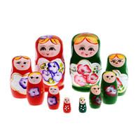 boyama bebek kızı toptan satış-5 adet / takım Ahşap Rus Bebek Set Ahşap Yerleştirme Babushka Matryoshka El Boya Bebekler Bebek Oyuncakları Kızlar için
