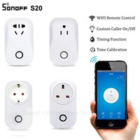 Wholesale Power Plug Timer - Sonoff S20 Wifi Wireless Remote Control Socket Smart Home Power Socket EU US UK CN Standard Via App Phone Smart Timer Home Plug