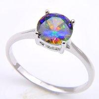 gemstone takı avustralyalı kristal toptan satış-Vintage 925 Ayar Gümüş Kaplama Kraliçe Fantezi Doğal Mistik Topaz Yuvarlak Taş Takı Avusturyalı Crystal Alyans severler için CR0471