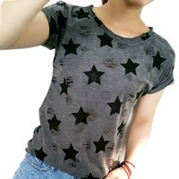 Wholesale plus size cardigans for women - 2017 Women Plus Size Hole T Shirt Ladies Short Sleeve Star Print Vintage Casual T-shirt Big Size Summer Tops For Woman Cardigans