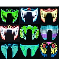 20pcs Halloween LED Masks Clothing Big Terror Masks Cold Light Helmet Fire Festival Party Glowing Dance Steady On Driver dhl