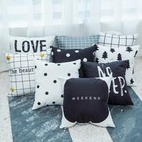 Wholesale men beds online - Black White Pillow Case Geometry Lattice Stripe English Letter Man Woman Sofa Office Cushion Cover Home Decor Bedding Supplies ll bb