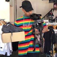 Wholesale FW18 sean colorful embroidery Purpose Tour T shirt A AP ASAP Rocky T Shirt striped tee Men Casual Short Sleeved Street Fashion Tops HFLSTX31