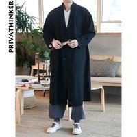 rote kimonomänner großhandel-Sinicism Store Herren Trenchcoat Jacke Männer Red Solid Kimono Cardigan Männlichen Chinesischen Stil Herbst Langen Mantel Kleidung 2018 Plus Größe