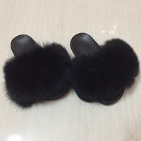 Wholesale fox furry - Women Fur Slippers Luxury Real Fox Fur Beach Sandal Shoes Fluffy Comfy Furry Flip Flops