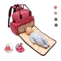 Wholesale Baby Carriage Bag - New Large Capacity Designer Baby Bags for Mummy Diaper Bag Backpack Baby Stroller Carriage Pram Accessories Nappy Bags Wave point color