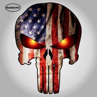 autocollants d'oeil de voiture achat en gros de-en gros 20pcs / lot crâne Punisher avec drapeau américain et des yeux brillants autocollants de voiture Decal Marvel Comics voiture corps motos Decor 9.5 * 14cm