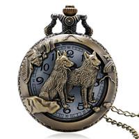 chinesisch gestaltete uhr großhandel-Vintage Pocket Watch hohlen Quarz Gehäuse Bronze 3D chinesischen Sternzeichen Series Design Taschenuhr Ketten und Fobs Uhren Relogio