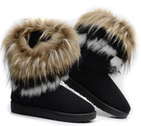 Wholesale red fox plush for sale - 2018 women Boots autumn and winter snow boots Feathers fox fur flat bottomed short cotton padded shoes winter boots XMAS gift
