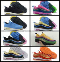 Wholesale womans sports - 2018 New Brand New 97 Sean Wotherspoon Men Running Shoes Top 97s Womens Vivid Sulfur Multi Mens Womans Yellow Blue Hybrid Sports Sneakers