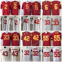spor kolej futbolu toptan satış-USC Truva Atları Kolej Futbol Formalar Allen Lott Woods Sanchez Seau Bush Üniversitesi PAC 12 Nakış Ekibi Kırmızı Beyaz Spor Sıcak erkekler