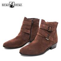 ingrosso fibbie in stoffa marrone-Winter Pu Leather Man Side Zipper Buckle Ankle Boots Male Footwear High Top Scarpe uomo Black Brown punta a punta Large 43 44