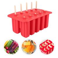 кубики льда кубики льда оптовых-Новый дизайн бытовой Diy палочке Силиконовые Ice Cream Cube Плесень 10 Корпус лотка Пан Кухня Замороженные льда Формы Popsicle Maker Popsicle Инструменты