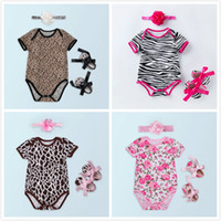 Wholesale zebra shoes kids online - Baby Girl Clothes Set Zebra Print American Independence Day Infant Rompers Shoes Headband Suits Floral Leopard Fashion Kids Clothing