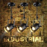 iluminación de la pista industrial de la vendimia al por mayor-Loft Vintage LED Track Lights Lámparas de techo de hierro forjado Ropa Bar COB Spotlight Industrial American Style Rod Spot Lighting