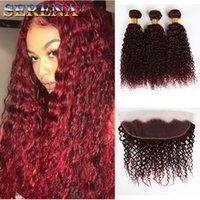 Wholesale burgundy human hair weave lace frontal resale online - Wine Red J Deep Wave Hair Bundles with Lace Frontal Closure Burgundy Deep Curly Human Hair Weaves with Lace x4 Ear to Ear Lace Frontal