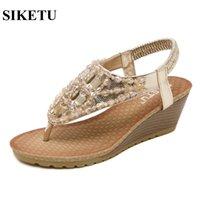 Wholesale gold t strap wedge - SIKETU Size 35-42 New 2017 Summer Sandals Bohemia Style Wedges Heeled Shoes European And American Rhinestone Sandals 88B-1