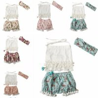 Wholesale Tops Shorts Headband - 2018 summer girls boutique outfits baby clothing sets toddler headbands tassel off the shoulder tops Rose Floral bloomers shorts 3pc clothes