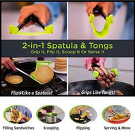 Wholesale frame sets - Clever Spatula Tong 2-in-1 Kitchen Spatula Tongs Non-stick Heat Resistant Kitchen Helper Frame Kitchen Tongs Tools 2pcs Set OOA4861