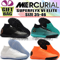 Wholesale mix kids shoes - New Original Kids Women Mens Indoor Football Boots High Top Mercurial Superfly VI Elite TF IC Soccer Cleats Boys Trainers Soccer Shoes