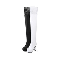 9b472136a23c Plus Size 34-43 Autumn Winter New Lace Women Leather Boots Sexy Fashion Over  the Knee Boots High Heel Platform Party Woman Shoes