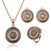 grandes anillos de diamantes de imitación para las mujeres al por mayor-Conjuntos de joyas de boda turcas para mujeres Color dorado antiguo Diamantes de imitación completos Collar redondo grande de metal Colgante Pendientes Conjunto de anillo