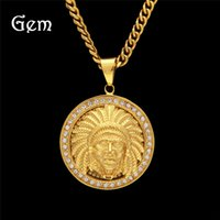 Wholesale Chief Pendant - New Arrival Hiphop Jewelry Full Diamond Indian Chief Pendant Necklace For Men Stainless Steel Chains Gold Plated Accessories