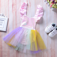 Wholesale Tutu Sizes For Kids - 2018 New Baby Girl Clothes Kids Tulle Sequins Princess Romper Dress for Girl Party Formal Wedding Birthday Tutu Rainbow Colorful Dresses