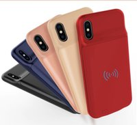 Wholesale iphone power bank adapter for sale - Group buy Ultra Thin wireless Charging Case For iphone X plus External Power Bank Back Cover Battery Charger Adapter support mAh